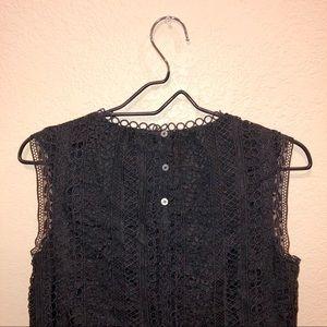 J. Crew Tops - J. Crew Black Mixed Crochet Lace Tank Top